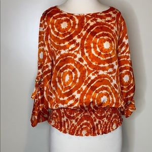 Michael Kors orange blouse with fitted waist small